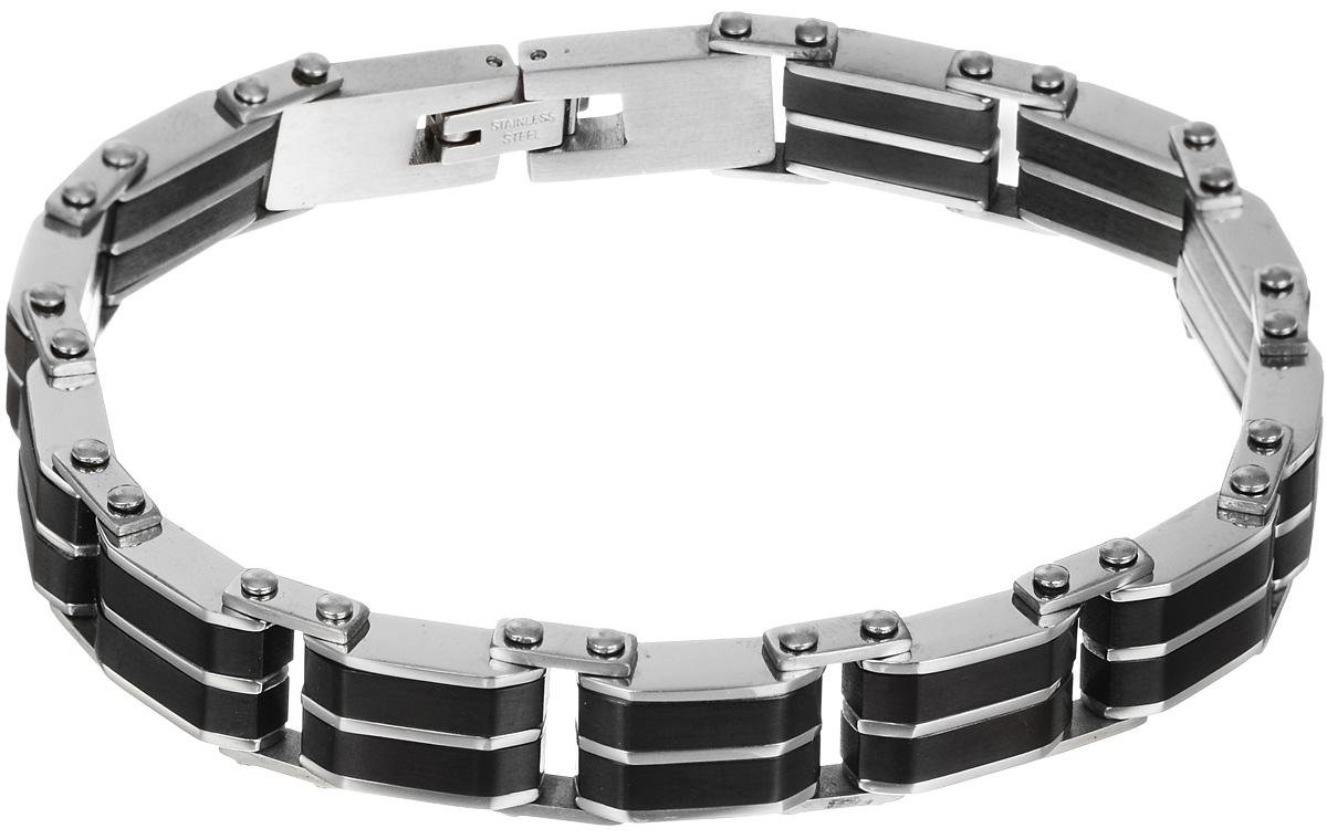 Браслет Art-Silver, цвет: серебряный, черный. B160-992B160-992Шикарный браслет Art-Silver выполнен из бижутерного сплава. Изделие состоит из скрепленных звеньев, выполненных из керамики и стали. Браслет застегивается при помощи замка-пряжки, благодаря которому браслет легко снимать и надевать. Это стильное украшение элегантно завершит модный образ и подчеркнет ваш утонченный вкус.