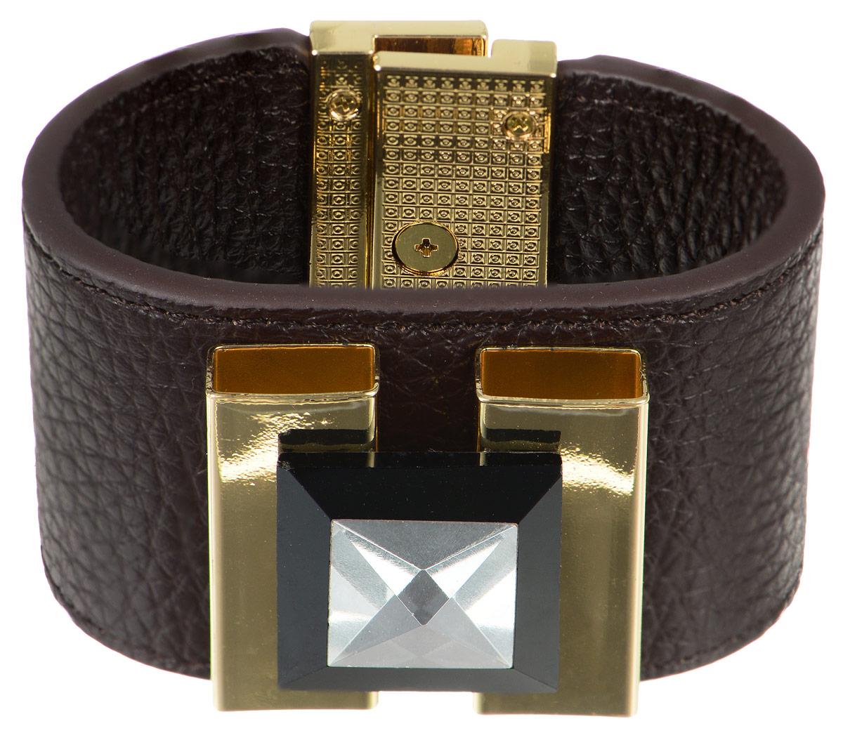 Браслет Art-Silver, цвет: темно-коричневый, золотистый. ТКР13-850. Размер 19ТКР13-850Оригинальный браслет Art-Silver выполнен из натуральной кожи и оформлен декоративным элементом из бижутерного сплава с кристаллом. Браслет на удобном замке-вертушке, благодаря которому модель идеально фиксируется на руке. Такой браслет позволит вам с легкостью воплотить самую смелую фантазию и создать собственный, неповторимый образ.