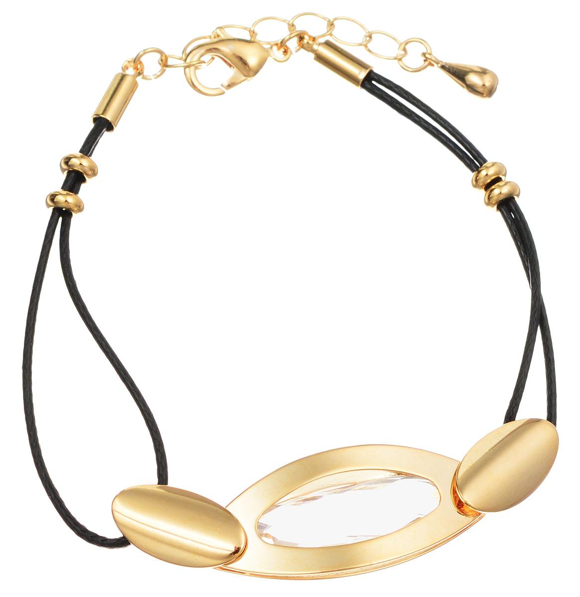 Браслет Art-Silver, цвет: черный, золотистый. 015820-462. Размер 18015820-462Лаконичный женский браслет выполнен из тоненьких кожаных шнурков, оформленных декоративным элементом из бижутерного сплава со вставкой из кубического циркона. Браслет застегивается при помощи застежки-карабина с регулирующей длину цепочкой, благодаря которой браслет легко снимать и надевать. Необычный браслет блестяще подчеркнет ваш изысканный вкус и поможет внести разнообразие в привычный образ.