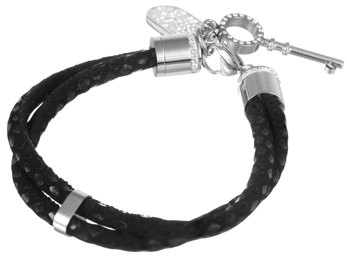 Браслет Art-Silver, цвет: серебристый, черный. КЖ2-1173КЖ2-1173Лаконичный женский браслет выполнен из высококачественной стали и текстиля со вставками из кубического циркона. Браслет застегивается при помощи застежки-карабина, благодаря чему его легко снимать и надевать. Необычный браслет блестяще подчеркнет ваш изысканный вкус и поможет внести разнообразие в привычный образ.