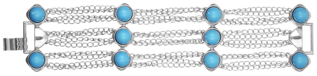 Браслет Art-Silver, цвет: серебристый, голубой. MS01554N-IR-A-1203MS01554N-IR-A-1203Лаконичный женский браслет выполнен из бижутерного сплава со вставками из полимера. Браслет застегивается при помощи застежки-клипсы, благодаря чему браслет легко снимать и надевать. Необычный браслет блестяще подчеркнет ваш изысканный вкус и поможет внести разнообразие в привычный образ.