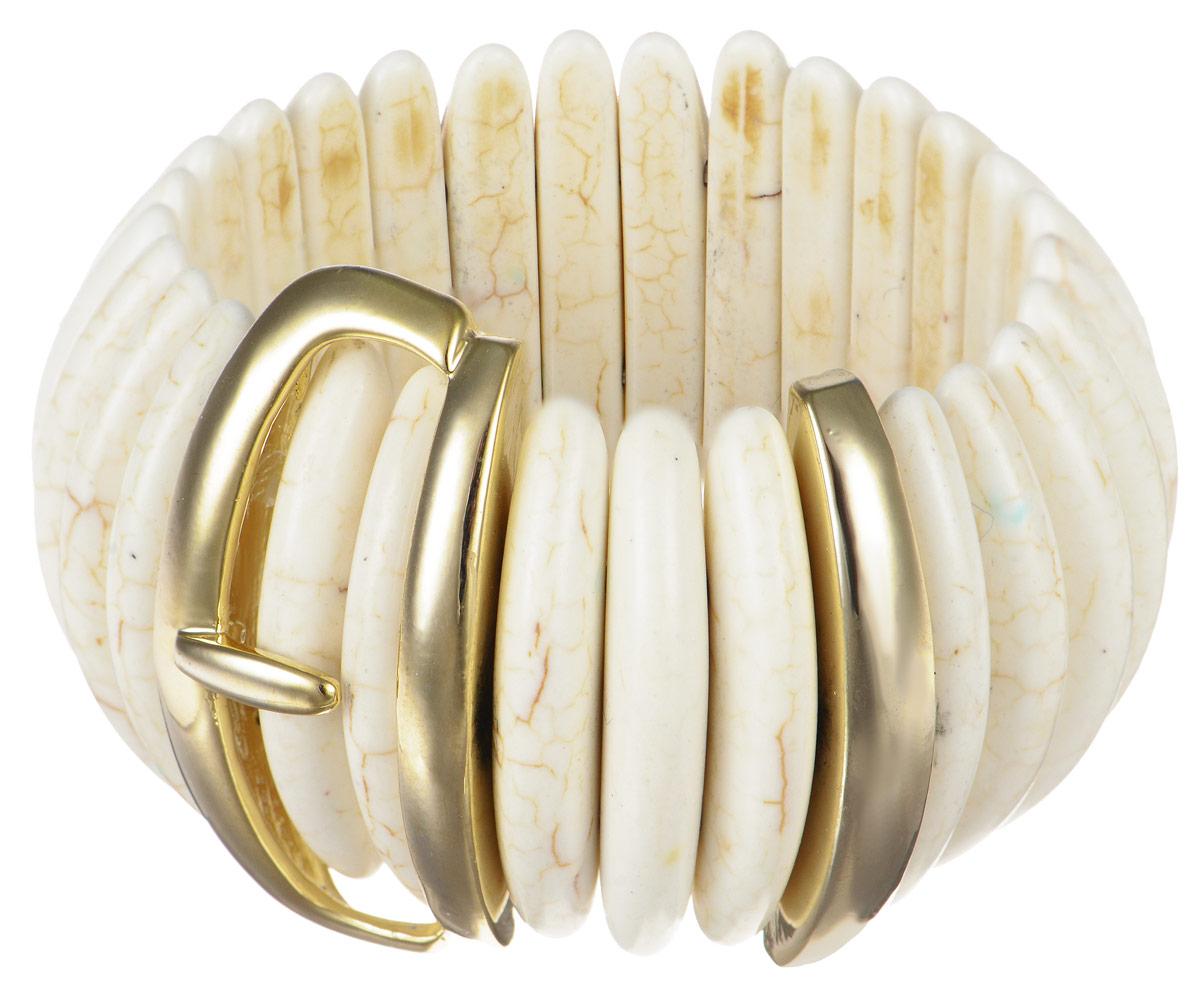 Браслет Art-Silver, цвет: слоновая кость, золотистый. MB05536-G-A-1184MB05536-G-A-1184Изящный женский браслет Art-Silver выполнен из агата со вставкой из бижутерного сплава. Эластичная прочная резинка позволит идеально зафиксировать модель на руке. Это стильное украшение элегантно завершит модный образ и подчеркнет ваш изысканный вкус.