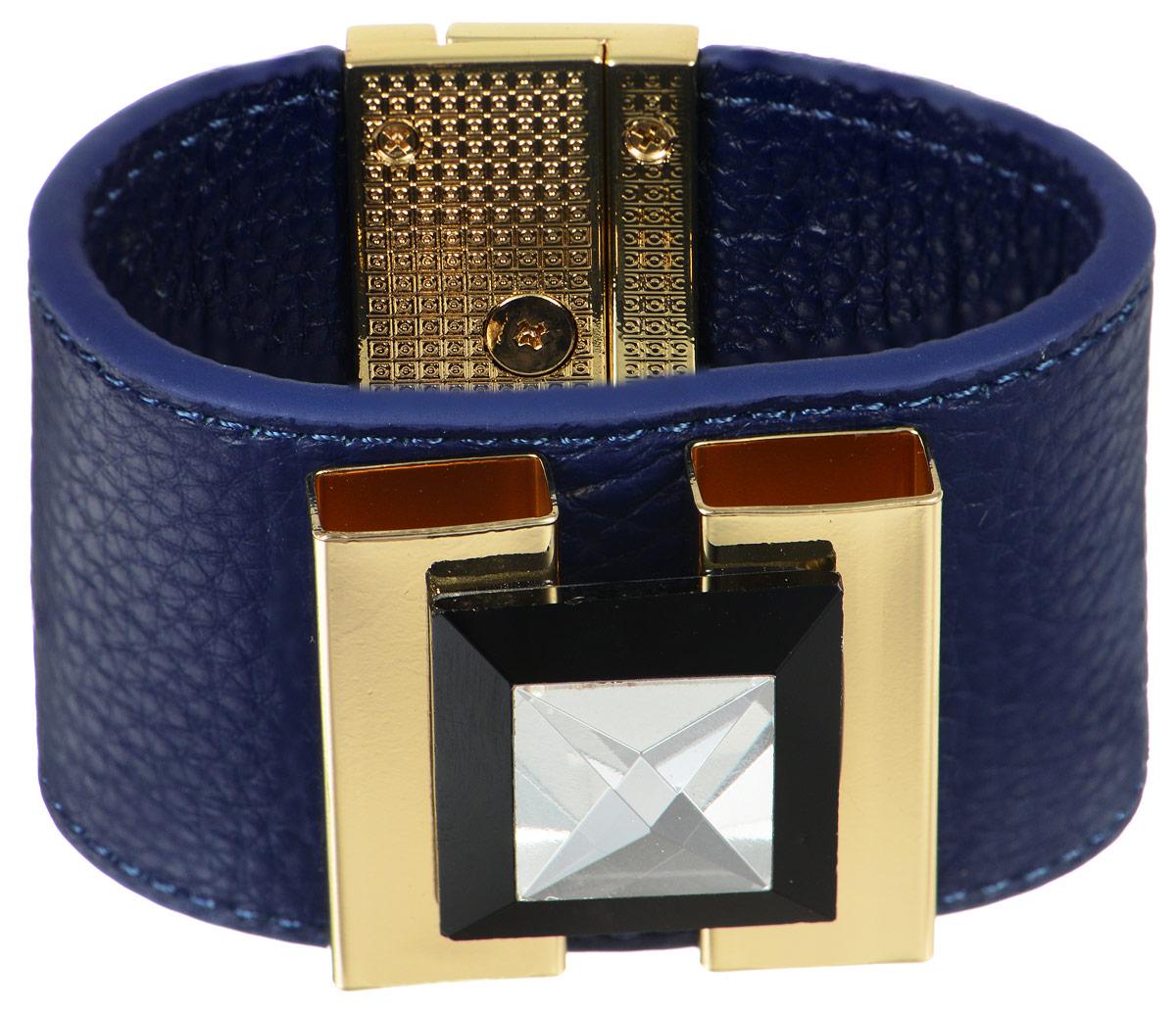 Браслет Art-Silver, цвет: темно-синий, золотистый. СН13-850. Размер 19СН13-850Оригинальный браслет Art-Silver выполнен из натуральной кожи, оформленный декоративным элементом из бижутерного сплава с кристаллом. Браслет на удобном замке-вертушке, благодаря которому модель идеально фиксируется на руке. Такой браслет позволит вам с легкостью воплотить самую смелую фантазию и создать собственный, неповторимый образ.