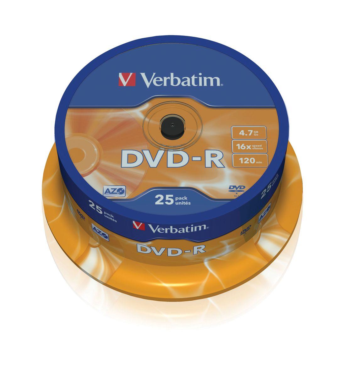 Verbatim DVD-R 4.7Gb 16x лазерный диск, 25 шт (Cake)43522В дисках Verbatim DVD-R 4.7Gb 16x используется технология MKM/Verbatim, обеспечивающая непревзойденное качество записи. Тесное сотрудничество отдела исследований и разработок компании Mitsubishi Chemical с производителями дисководов обеспечивает широкую совместимость дисков Verbatim, что делает их идеальными носителями для передачи компьютерных данных, домашних видеофильмов, фотографий и музыки. Тип упаковки: 25 Pack Spindle Поверхность: Matt Silver
