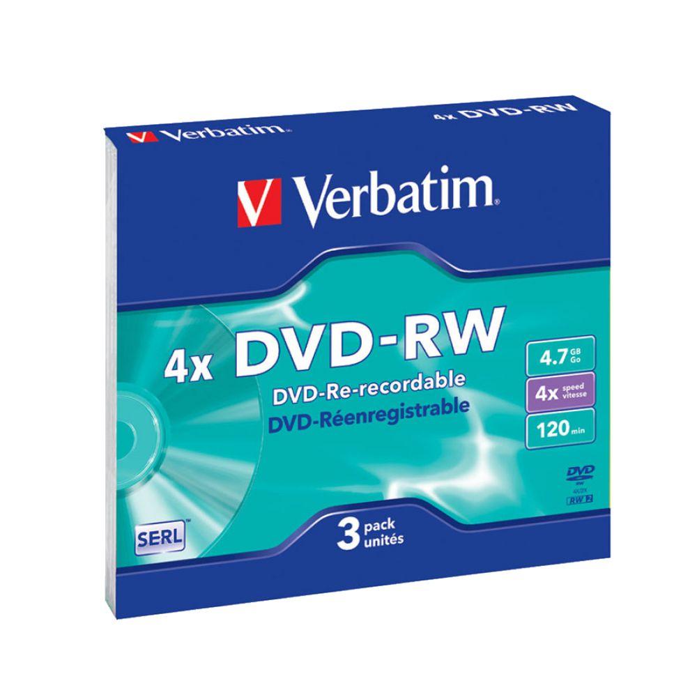 Verbatim DVD-RW 4.7GB 4х оптический диск, 3 шт (Slim)