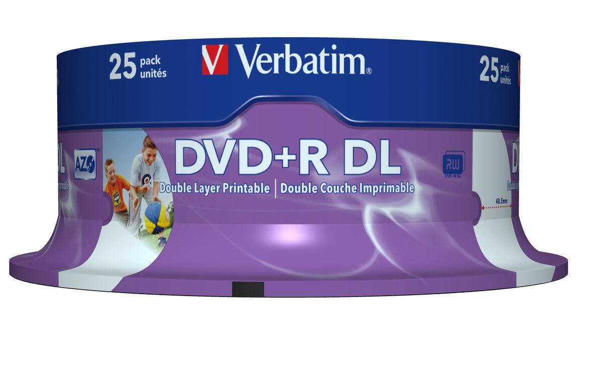 Verbatim DVD+R 8.5GB 8x оптический диск, 25 шт (Cake)