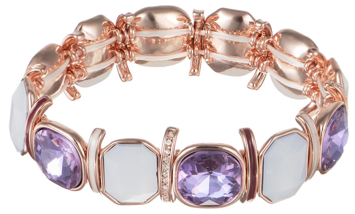 Браслет Art-Silver, цвет: золотистый, белый, сиреневый. MS06434BT-RG-A-1895MS06434BT-RG-A-1895Роскошный женский браслет Art-Silver выполнен из высококачественного бижутерного сплава. Модель оформлена декоративными элементами, оформленных стразами и камнями разных цветов и формы. Эластичная прочная резинка позволит идеально зафиксировать модель на руке. Это стильное украшение элегантно завершит модный образ и подчеркнет ваш утонченный вкус.