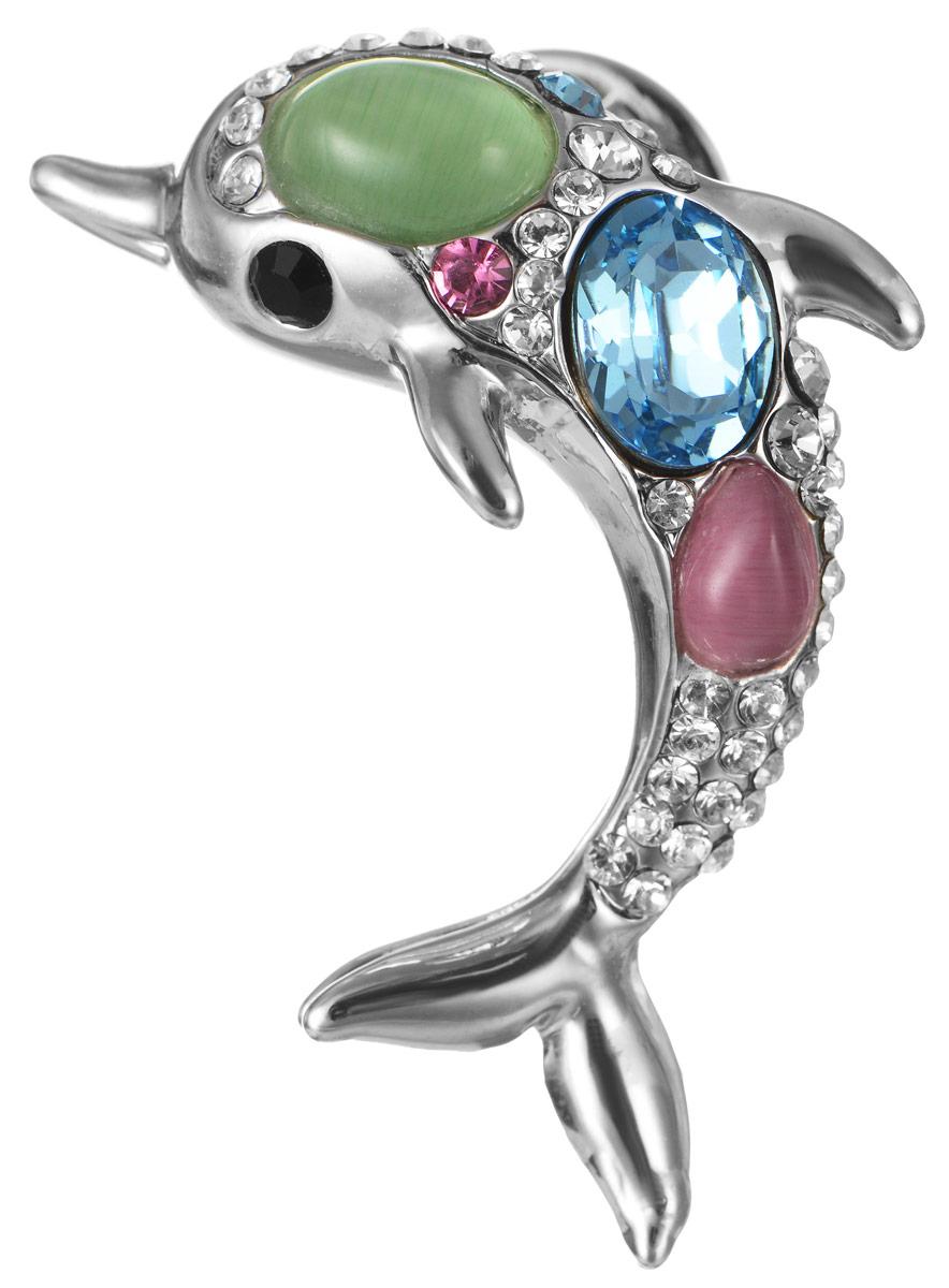 Брошь Art-Silver, цвет: серебристый, голубой, розовый, светло-зеленый. V059495B-001-967V059495B-001-967Эффектная брошь Art-Silver, выполнена в виде дельфина из бижутерного сплава серебристого цвета и оформлена искусственными камнями. Брошь крепится с помощью иголки с замочком. Такая брошь позволит вам с легкостью воплотить самую смелую фантазию и создать собственный, неповторимый образ.