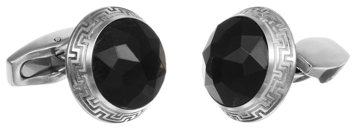 """Запонки """"Art-Silver"""", цвет: серебристый, черный. К003-703"""