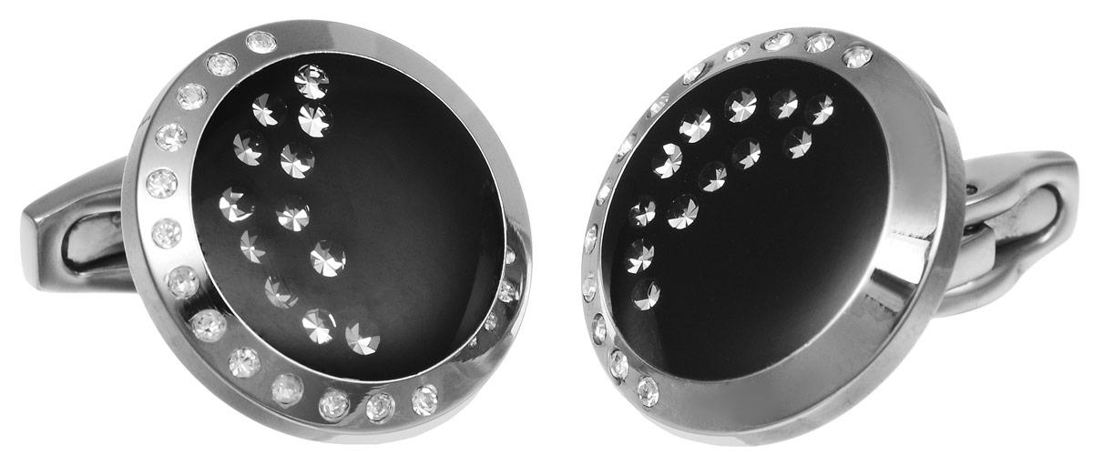 Запонки Art-Silver, цвет: серебристый, черный. К013-703К013-703Стильные запонки Art-Silver, изготовленные из высококачественной стали и декорированные стразами, непременно станут объектом внимания и подчеркнут ваш изысканный вкус. Запонки - символ мужской элегантности. Они являются неотъемлемой частью вечернего туалета. Мужские запонки великолепного дизайна будут отличным подарком для каждого.