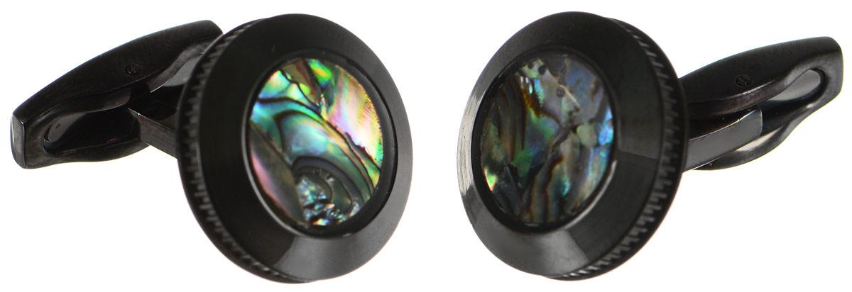 """Запонки """"Art-Silver"""", цвет: черный, перламутровый. 095Z-716"""