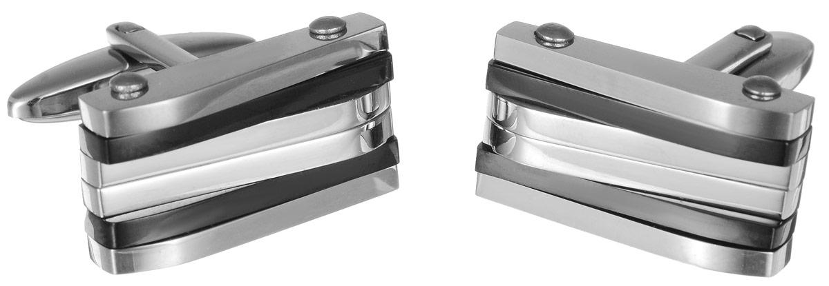 """Запонки """"Art-Silver"""", цвет: серебристый, черный. QD316-675"""