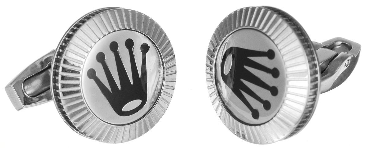 """Запонки """"Art-Silver"""", цвет: серебристый, черный. К009-602"""