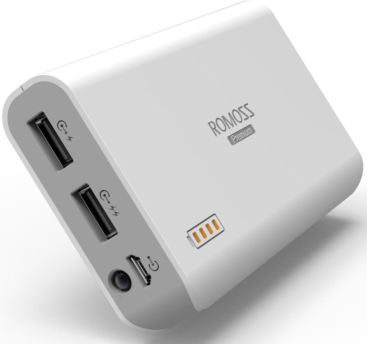 Romoss Sailing 3, White внешний аккумулятор00000008789Внешний аккумулятор Romoss Sailing 3 отличается большой емкостью и быстрым временем зарядки. Эта батарея станет незаменимым помощником в случае, когда нет розетки под рукой. Наличие двух USB выходов позволит заряжать два цифровых устройства одновременно. Данная модель содержит в себе авторизованные компанией Samsung аккумуляторные ячейки высокой емкости. Зарядка начинается сразу же после подключения устройства к аккумулятору, и может продолжаться даже если сам аккумулятор поставить на зарядку. Ударопрочный корпус, сделанный из ABS-пластика Светодиодный фонарик