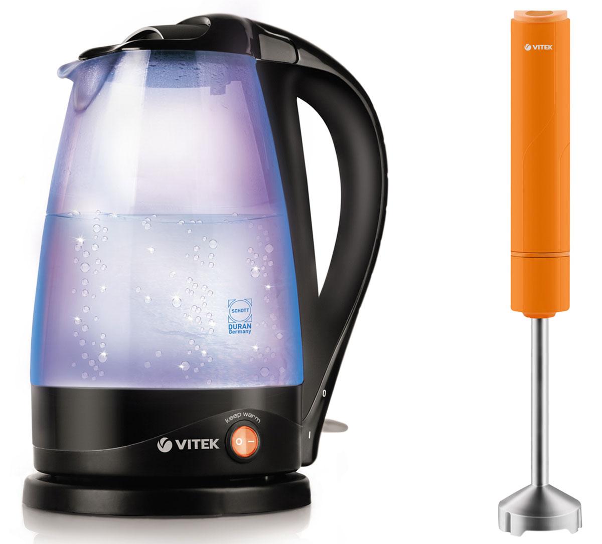 Vitek VT-1180(В) электрический чайник + VT-1472(OG) блендерVT-1180(В)+VT-1472(OG)Инновационный чайник Vitek VT-1180(В) оснащен запатентованным, единственным в мире нагревательным элементом с керамическим покрытием немецкой фирмы Weilburger, гарантирующим бесшумное закипание воды. Эта уникальная технология кардинально отличает данную модель от электрочайников со стальным нагревательным элементом. Кроме того, керамическое покрытие обладает антипригарными свойствами, что позволит сократить количество накипи, также влияющей на появление шума при закипании воды. Уход за чайником с данным нагревательным элементом намного проще, а керамика, являясь одним из самых экологически чистых материалов, сохранит полезные свойства воды. Корпус чайника выполнен из высококачественного термостойкого цветного стекла Schott Duran голубого цвета – устойчивого к перепадам температуры и ударопрочного (в 3 раза прочнее обычного стекла). Многоуровневая внутренняя подсветка резервуара Colour Fusion создаст неповторимую атмосферу, меняя оттенки, как в...