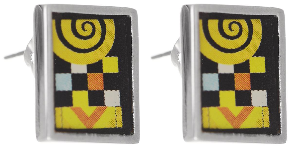 Серьги Art-Silver, цвет: серебряный, мультицвет. ФСм202-1-420ФСм202-1-420Лаконичные серьги Art-Silver изготовлены из бижутерийного сплава, оформлены цветными вставками из эмали. В качестве основы украшения используется замок-гвоздик с фиксаторами. Стильные серьги добавят образу изюминку и подчеркнут индивидуальность.