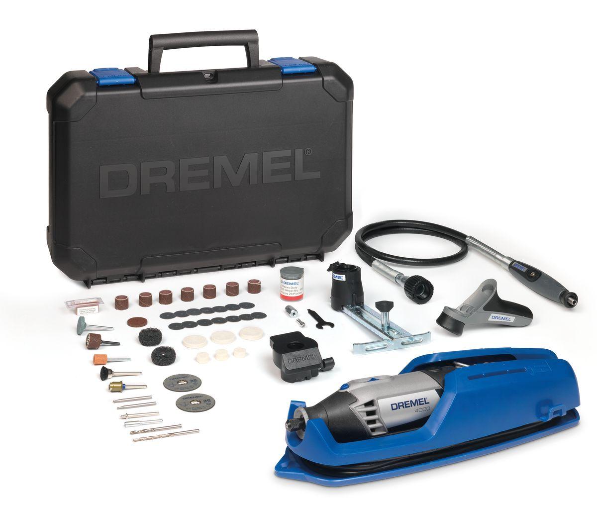 Многофункциональный инструмент Dremel 4000- 4/65F0134000JTМощный и точный многофункциональный инструмент Dremel 4000 обеспечивает максимальную универсальную производительность. Ключ к отличному результату – максимальный контроль над инструментом. Многофункциональный инструмент со сменными насадками и приставками обеспечит такой контроль. Инструмент оснащен мягкой ручкой с возможностью поворота на 360 градусов, повышающей маневренность в любом положении. Обрабатывайте даже самые мелкие детали в самых неудобных и труднодоступных местах. Скорость вращения регулируется во всем диапазоне и имеет отдельный переключатель, поэтому вы всегда сможете продолжить свою работу в том режиме, на котором остановились. Высокопроизводительный двигатель и константная электроника позволяют развивать максимальную силу. Шлифуйте, полируйте, режьте и выполняйте обработку любых материалов с одинаковой легкостью. Особенности модели: Двигатель мощностью 175 Вт для максимальной производительности Инновационный наконечник EZ Twist: для смены насадок не...