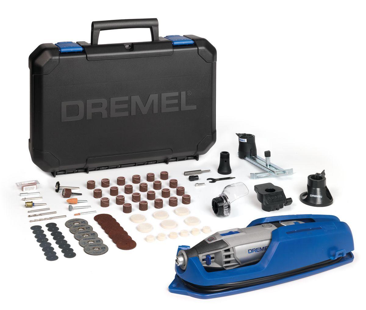 Многофункциональный инструмент Dremel 4200-4/75F0134200JHНеограниченные возможности – один инструмент. Мощный многофункциональный инструмент Dremel 4200 способен одинакого хорошо выполнять абразивную обработку, шлифование, фрезерование и pезку. Константная электроника обеспечивает исключительную мощность, необходимую для поддержания максимальной производительности. Регулятор скорости во всем диапазоне запоминает выбранную частоту вращения после выключения инструмента. Высочайшая точность даже при работе в неудобных углах и труднодоступных местах. Просто переключайтесь между сменными насадками с помощью системы EZ Change. Потяните вниз рычаги, задвиньте насадку – и вы готовы к работе. Комплектация: Dremel 4200 75 высококачественная насадка Dremel Направляющая для резки () Линейный фрезерный циркуль (678) Шлифовальная платформа (576) Приспособление Comfort Guard (550) Вместительный и прочный кейс для хранения, со съемным лотком для насадок В комплект входит уникальная подставка для...