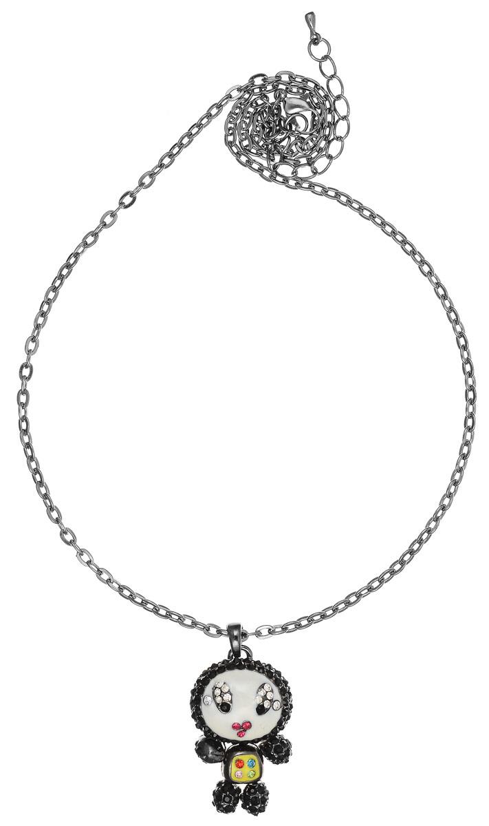 Колье Fashion House, цвет: серебряный, черный, белый. FH25962FH25962Стильное колье Fashion House не оставит равнодушной ни одну любительницу модных и необычных украшений. Колье представляет собой тонкую цепочку с оригинальным плетением, дополненную изящной подвеской в виде человечка. Подвеска выполнена из металла, имеет подвижные элементы, покрыта разноцветной эмалью и украшена стразами. Колье имеет надежную застежку-карабин с регулирующей длину цепочкой. Такое украшение позволит вам с легкостью воплотить самую смелую фантазию и создать собственный, неповторимый образ.