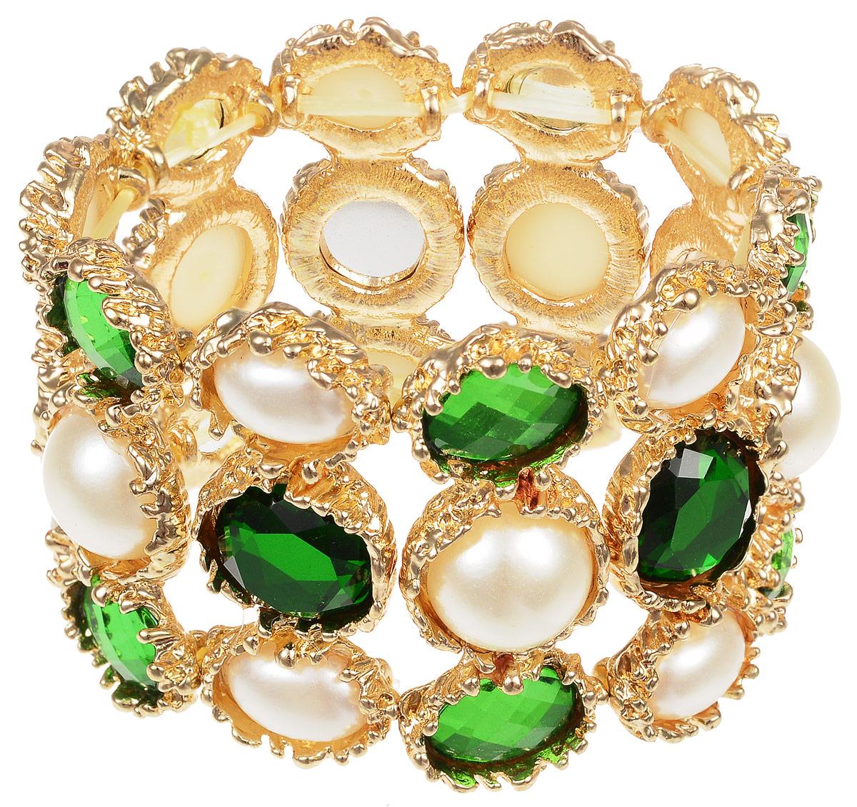 Браслет Fashion House, цвет: золотистый, белый, зеленый. FH29983FH29983Великолепный браслет Fashion House, выполненный из высококачественного металла, позволит вам с легкостью воплотить самую смелую фантазию и создать собственный неповторимый образ. Браслет богато украшен камнями и крупными стразами. Эластичная прочная резинка позволит идеально зафиксировать модель на руке. Красивое и необычное украшение блестяще подчеркнет ваш изысканный вкус и поможет внести разнообразие в привычный образ.