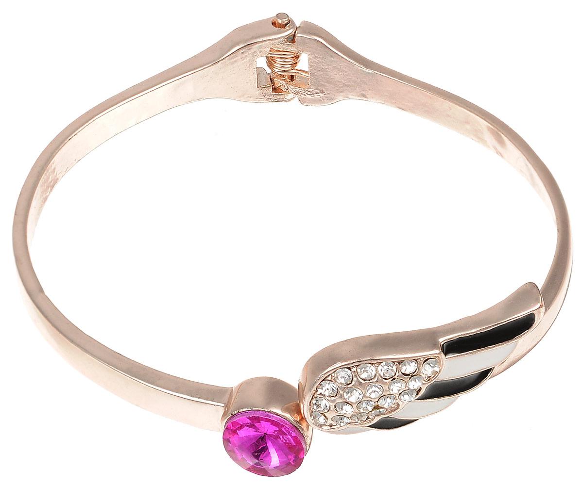 Браслет Fashion House, цвет: золотистый, ярко-розовый. FH33039FH33039Шикарный женский браслет выполнен из высококачественного металла. Модель оформлена декоративным элементом в виде крыла ангела, покрытого эмалью и декорированного стразами, а также ярким камнем. Браслет на пружинке, что позволяет идеально зафиксировать модель на руке. Это стильное украшение элегантно завершит модный образ и подчеркнет ваш утонченный вкус.