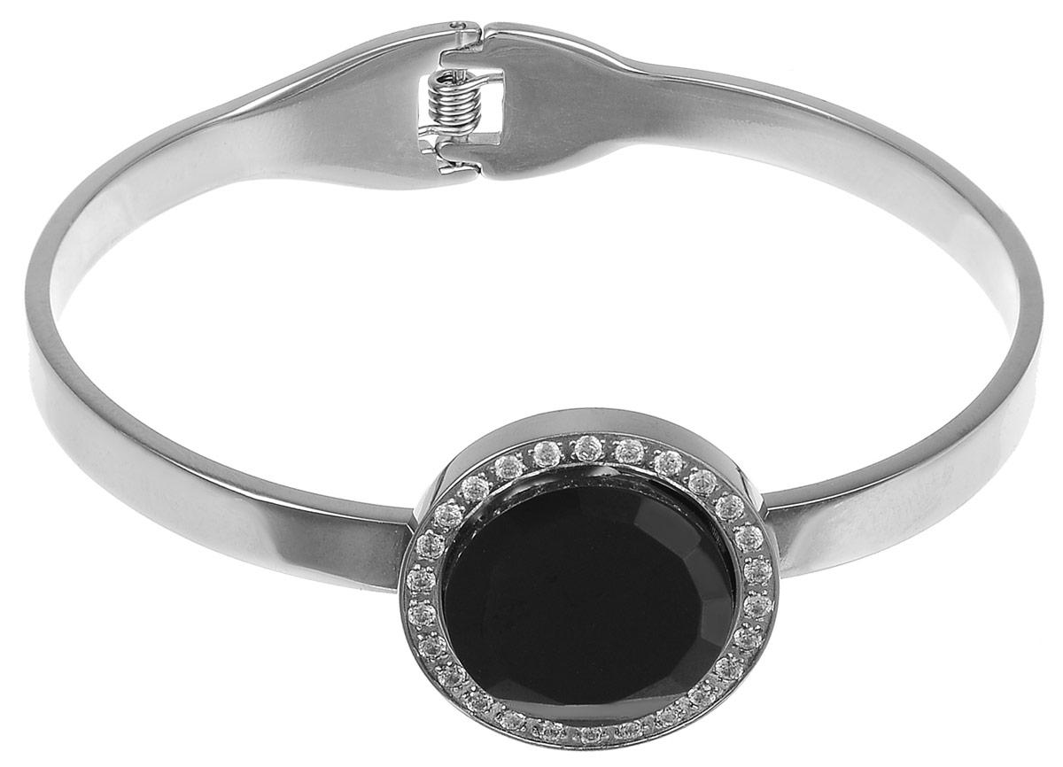 Браслет Art-Silver, цвет: черный, серебристый. КЧ208-1026КЧ208-1026Шикарный женский браслет Art-Silver состоит из металлической основы, дополненной декоративным элементом, оформленным вставкой из керамики и кубического циркона. Браслет на пружинке, что позволяет идеально зафиксировать модель на руке. Это стильное украшение элегантно завершит модный образ и подчеркнет ваш утонченный вкус.