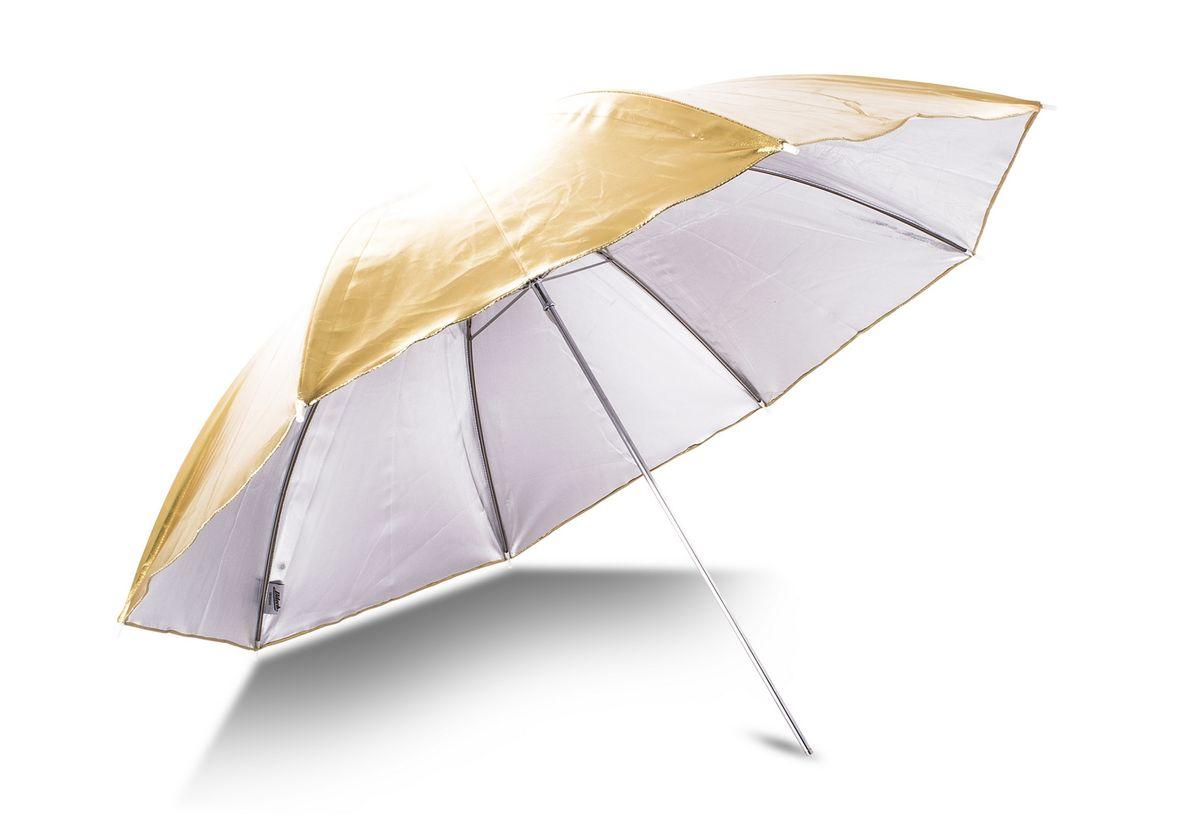Ditech UB33WG, White Gold зонт на отражение для фотосъемкиUB33WGЗонт белый/золото для придания снимкам золотистого оттенок. Отраженный от зонта свет, в зависимости от поставленных задач, может служить как рисующим, так и заполняющим.