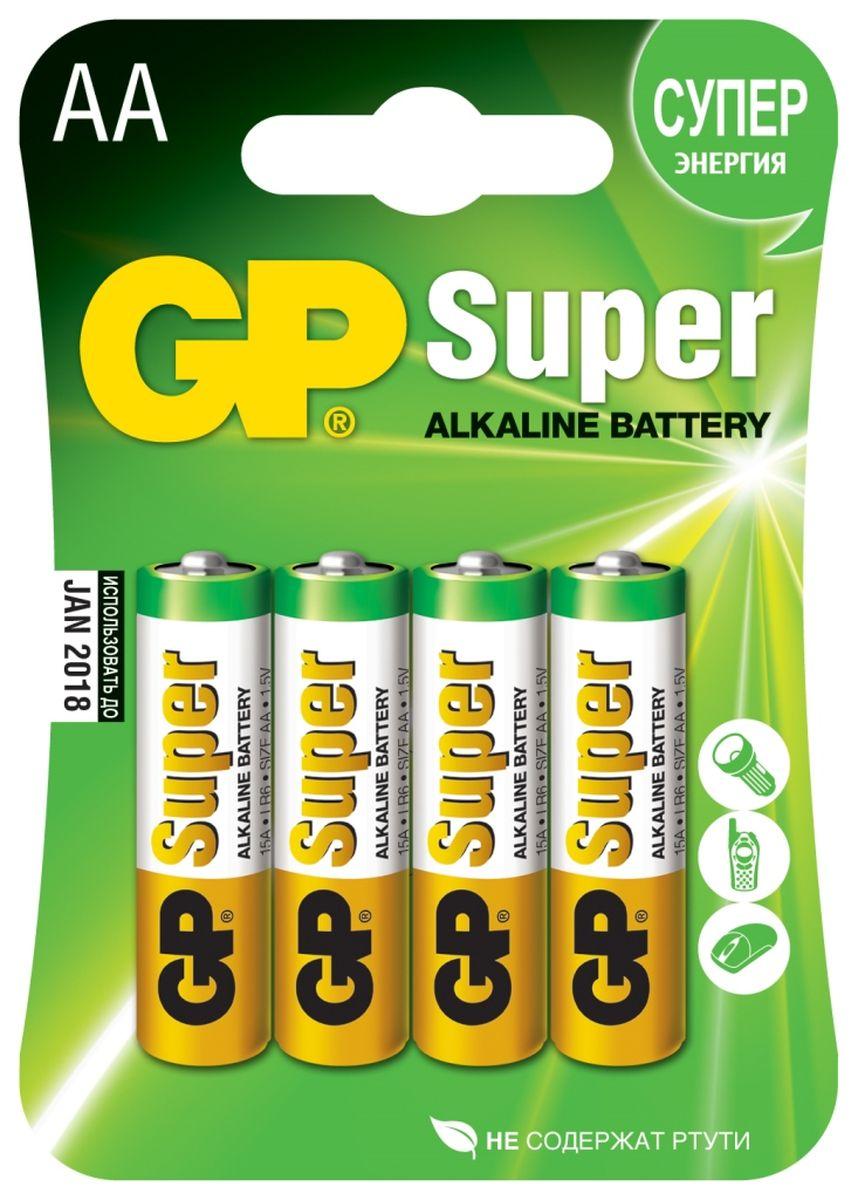 Батарейка алкалиновая GP Batteries Super Alkaline, тип АА, 4 шт2706Батарейки GP Super Alkaline прекрасно подходят для увеличивающейся потребности в источниках питания для устройств повседневного использования. Идеальное соотношение цена/качество. Надежный продукт широкого спектра применения, подходящий для потребителей всех возрастов. * Увеличенная продолжительность работы * Огромный ассортимент типоразмеров * Длительный срок хранения (до 7 лет)