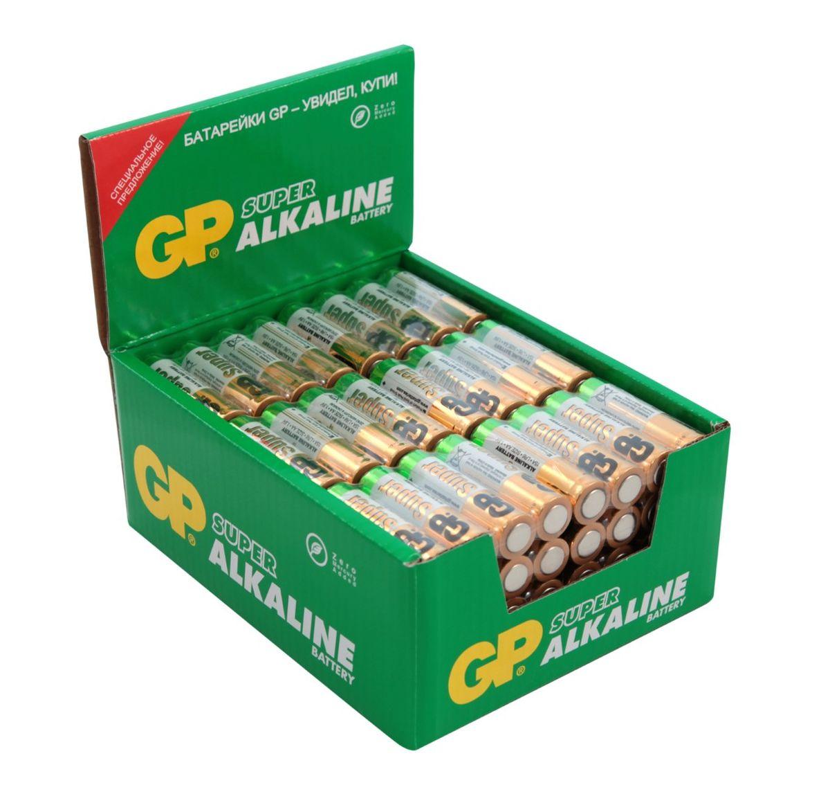 Набор алкалиновых батареек GP Batteries Super Alkaline, тип АА, 96 шт2727Батарейки GP Super Alkaline прекрасно подходят для увеличивающейся потребности в источниках питания для устройств повседневного использования. Идеальное соотношение цена/качество. Надежный продукт широкого спектра применения, подходящий для потребителей всех возрастов. * Увеличенная продолжительность работы * Огромный ассортимент типоразмеров * Длительный срок хранения (до 7 лет)