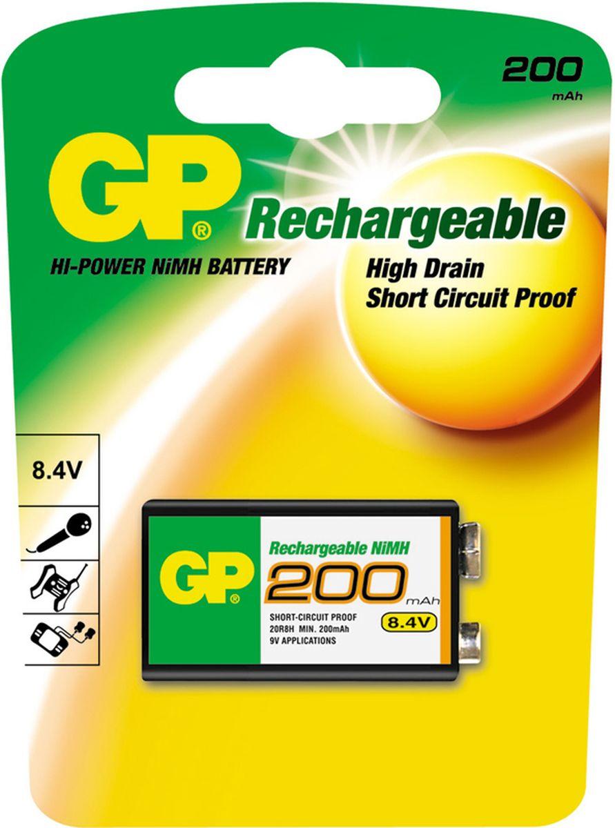 Аккумулятор GP Batteries, NiMh, тип Крона, 9V, 200 mAh, 1 шт2849Перезаряжаемые аккумуляторы GP используются повсюду и применимы в широком спектре устройств. Все типы таких аккумуляторов сохраняют энергию длительное время и могут быть перезаряжены до 500 раз. Большой ассортимент позволяет найти подходящее решение для любой ситуации. * Энергоемкость выше, чем у алкалиновых элементов питания * Сохраняют заряд, когда не используются * Могут быть перезаряжены до 500 раз * Реальная экономия и забота об окружающей среде
