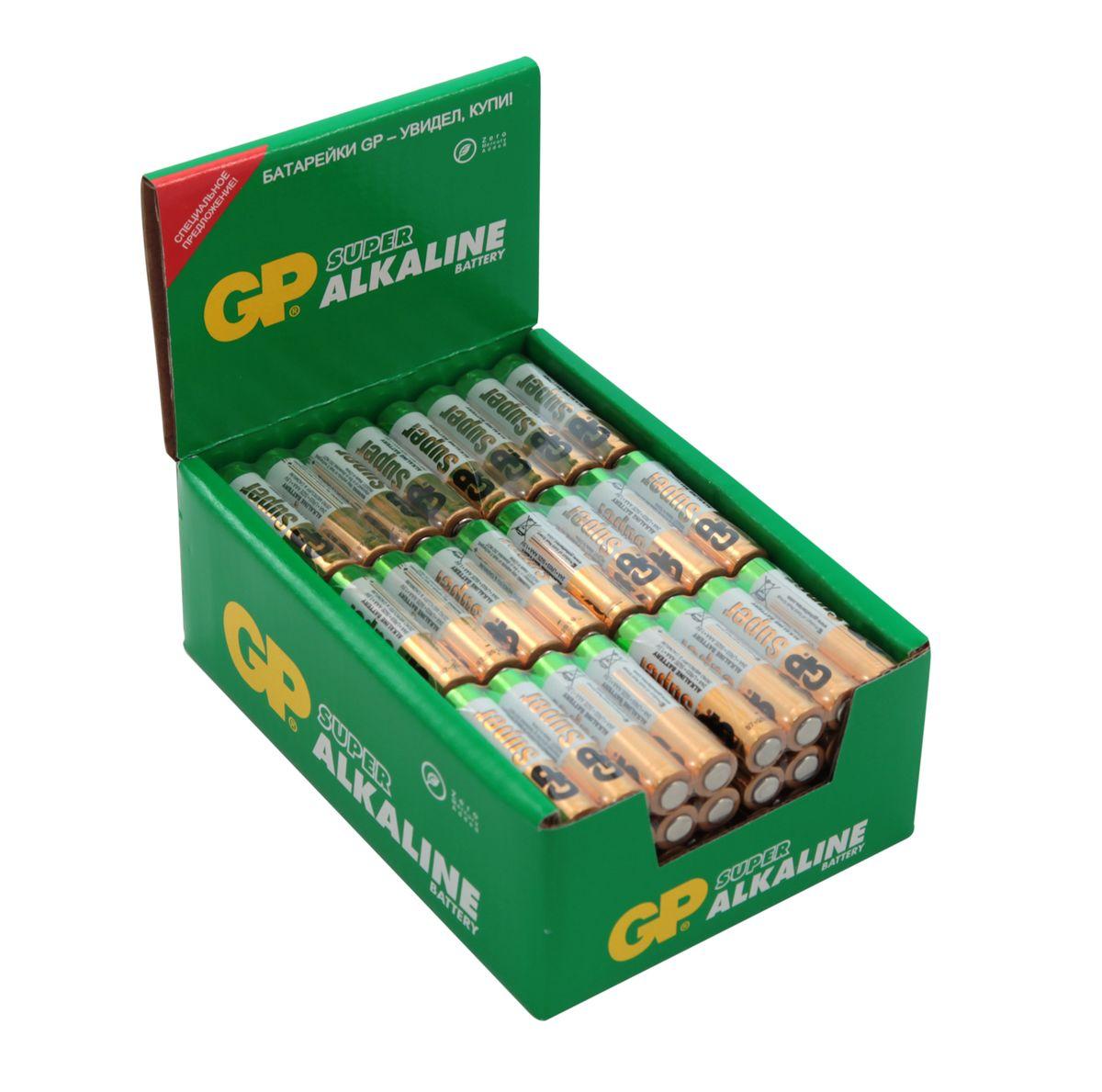 Набор алкалиновых батареек GP Batteries Super Alkaline, тип ААА, 96 шт2915Батарейки GP Super Alkaline прекрасно подходят для увеличивающейся потребности в источниках питания для устройств повседневного использования. Идеальное соотношение цена/качество. Надежный продукт широкого спектра применения, подходящий для потребителей всех возрастов. * Увеличенная продолжительность работы * Огромный ассортимент типоразмеров * Длительный срок хранения (до 7 лет)