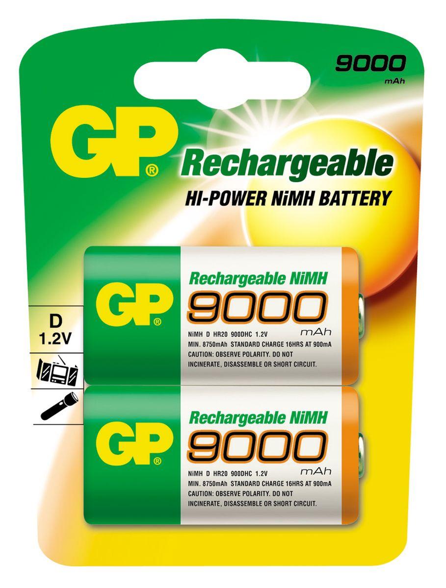 Набор аккумуляторов GP Batteries, NiMh, тип D, 9000 mAh, 2 шт3137Перезаряжаемые аккумуляторы GP используются повсюду и применимы в широком спектре устройств. Все типы таких аккумуляторов сохраняют энергию длительное время и могут быть перезаряжены до 500 раз. Большой ассортимент позволяет найти подходящее решение для любой ситуации. * Энергоемкость выше, чем у алкалиновых элементов питания * Сохраняют заряд, когда не используются * Могут быть перезаряжены до 500 раз * Реальная экономия и забота об окружающей среде