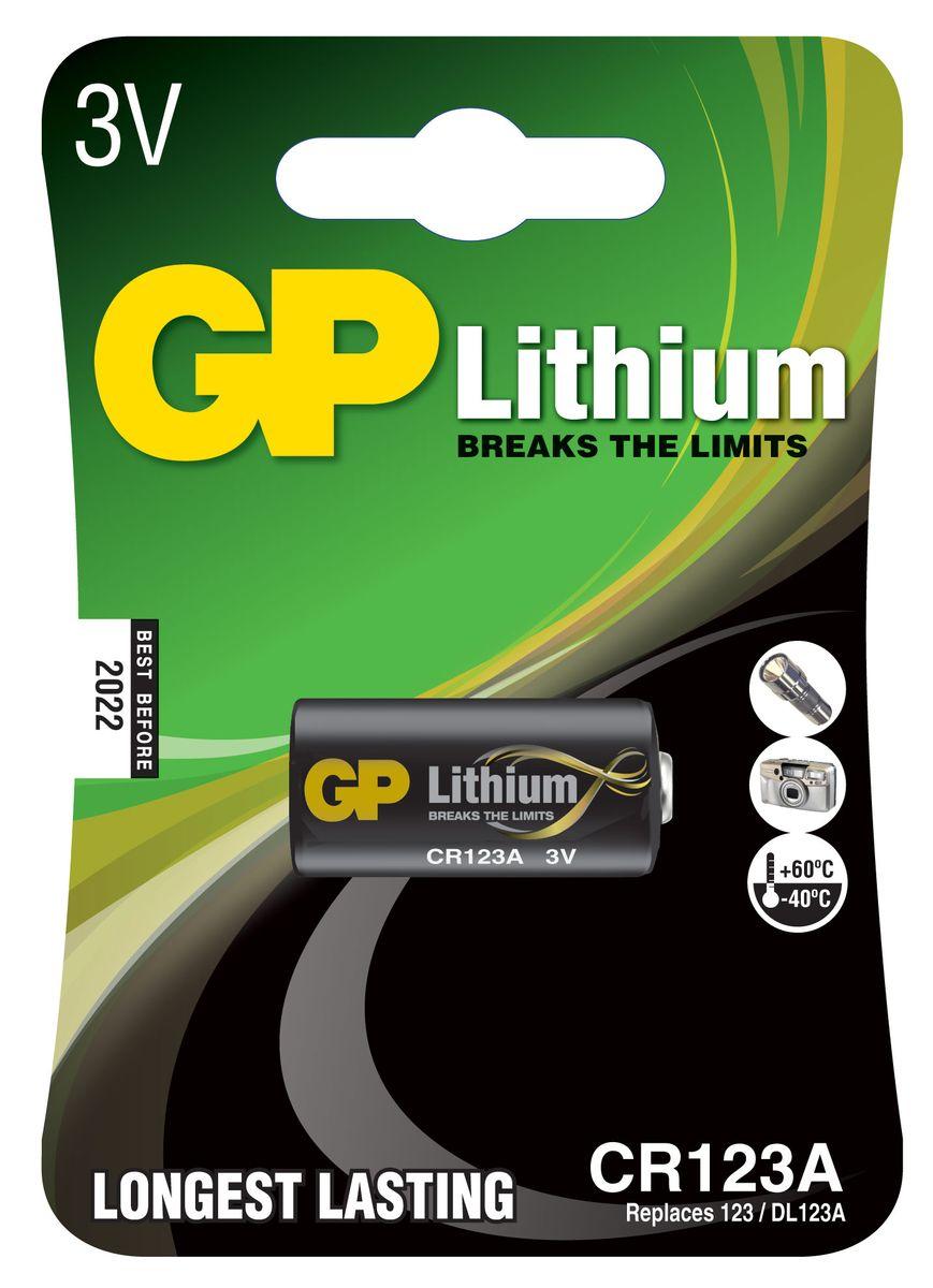 Батарейка литиевая GP Batteries, тип CR123 (CR17345), 3В, 1 шт3187Литиевые элементы питания GP показывают великолепный результат в профессиональных приборах, а также в устройствах с высоким потреблением энергии. Они идеальны для медицинских приборов и отлично работают в экстремальных погодных условиях. * Лучшее решение для профессиональных и медицинских приборов * На 40% легче обычных батареек * Демонстрируют превосходный результат при экстремальных погодных условиях (от -40°C до 60°C) * Встроенная система защиты * Длительный срок хранения (10 лет)