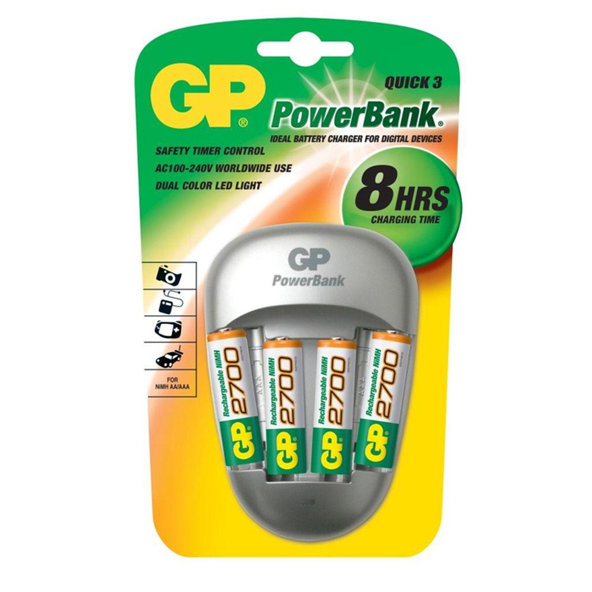 Зарядное устройство GP Batteries для заряда 4-х аккумуляторов типа АА, ААА + комплект из 4-х аккумуляторов NiMh, 2700 mAh, тип АА3490Зарядные устройства GP PowerBank серии MID-range предоставляют частым пользователям аккумуляторов идеальные решения для заряда. ЕслиВам нужно зарядить от 2-х до 8-ми аккумуляторов в течение от 2-х до 8-ми часов, то зарядные устройства этой серии отлично подойдут. В комплекте с некоторыми зарядными устройствами идут универсальные переходники для использования по всему миру во время путешествий. * Безопасный заряд в течение ночи * IИндивидуальный индикатор статуса заряда для каждого аккумулятора * Контроль исправности аккумуляторов и защита от заряда первичных элементов питания * Удобство для путешественников: используются по всему миру * Непрерывный подзаряд: аккумуляторы всегда полностью заряжены * Достаточно 6 часов для заряда 4-х никель-металлгидридных аккумуляторов типоразмеров АА или ААА * Два канала для заряда позволяют заряжать 2 или 4 никель-металлгидридных аккумулятора типоразмеров АА или ААА