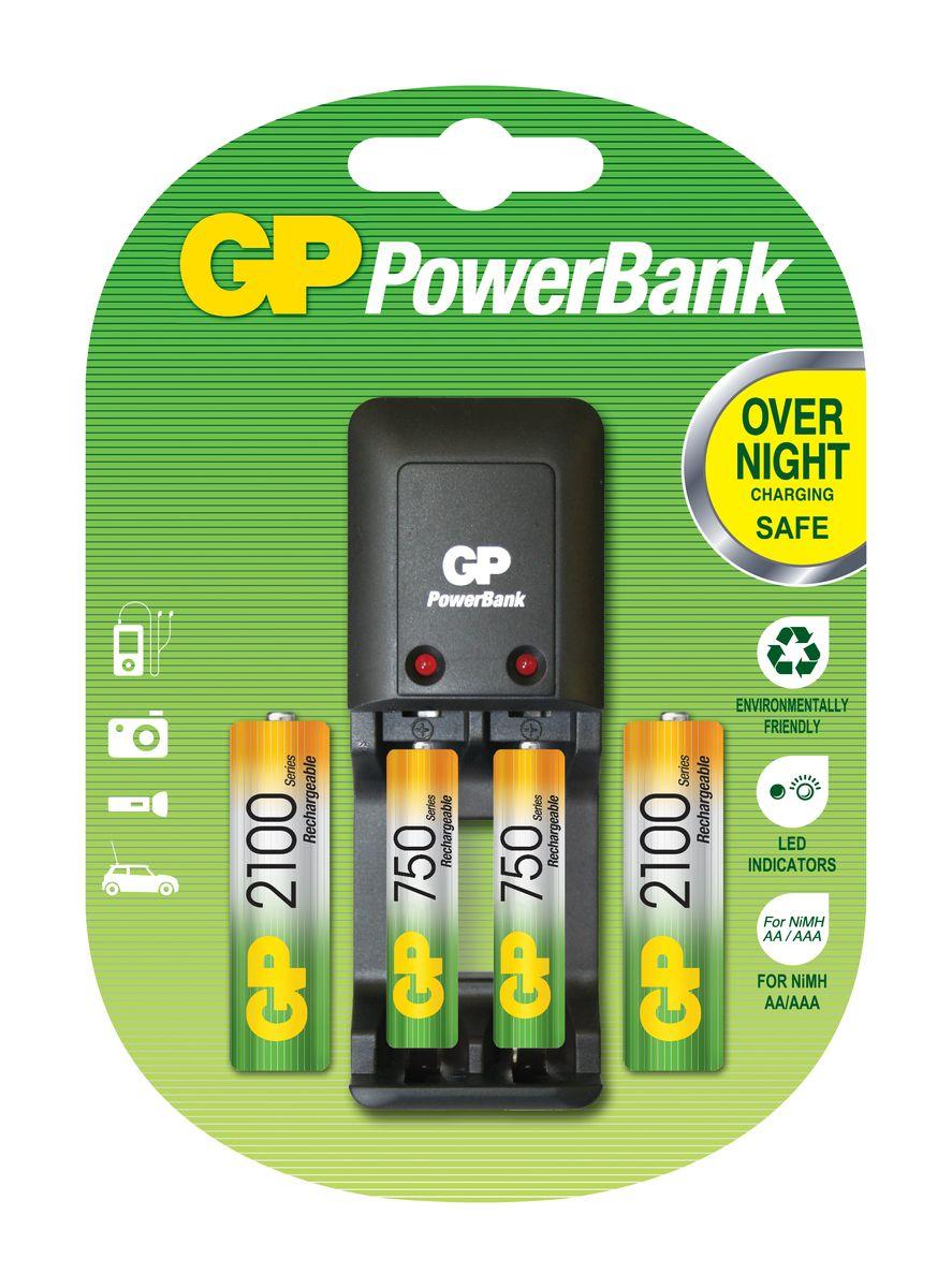 Зарядное устройство GP Batteries для заряда 2-х аккумуляторов типа АА, ААА + комплект из 2-х аккумуляторов NiMh, 2100 mAh, тип АА и 2-х аккумуляторов NiMh, 750 mAh, тип ААА3511Экономия средств, безопасный заряд и удобство обращения. Серия STANDARD зарядных устройств GP PowerBank предлагает экономное решение для заряда аккумуляторов всех типоразмеров. Если вам нужно зарядить аккумуляторы типоразмеров ААА, АА, С, D или 9В, все зарядные устройства PowerBanks просты и удобны в использовании; просто поместите Ваши аккумуляторы в устройство и оставьте их заряжаться на всю ночь. Автоматический таймер гарантирует безопасный процесс заряда, после которого Вы можете вытащить заряженные аккумуляторы, когда они Вам понадобятся. * Устройство, разработанное для того, чтобы оно всегда находилось в розетке - для мгновенной энергии * Компактное устройство * Два канала для заряда позволяют заряжать 1-2 никель-металлгидридных аккумулятора типоразмеров АА или ААА