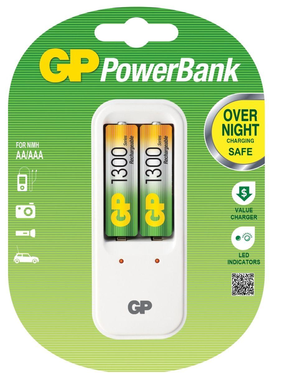 Зарядное устройство GP Batteries для заряда 2-х аккумуляторов типа АА, ААА + комплект из 2-х аккумуляторов NiMh, 1300 mAh, тип АА3546Экономия средств, безопасный заряд и удобство обращения. Серия STANDARD зарядных устройств GP PowerBank предлагает экономное решение для заряда аккумуляторов всех типоразмеров. Если вам нужно зарядить аккумуляторы типоразмеров ААА, АА, все зарядные устройства PowerBanks просты и удобны в использовании; просто поместите Ваши аккумуляторы в устройство и оставьте их заряжаться на всю ночь. Автоматический таймер гарантирует безопасный процесс заряда, после которого Вы можете вытащить заряженные аккумуляторы, когда они Вам понадобятся. * Устройство, разработанное для того, чтобы оно всегда находилось в розетке - для мгновенной энергии * Компактное устройство * Два канала для заряда позволяют заряжать 1-2 никель-металлгидридных аккумулятора типоразмеров АА или ААА