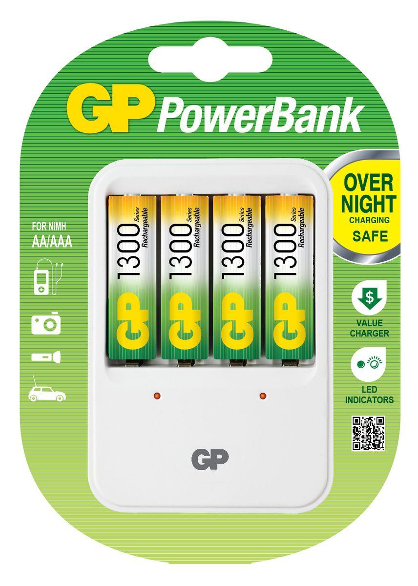 Зарядное устройство GP Batteries для заряда 4-х аккумуляторов типа АА, ААА + комплект из 4-х аккумуляторов NiMh, 1300 mAh, тип АА3547Экономия средств, безопасный заряд и удобство обращения. Серия STANDARD зарядных устройств GP PowerBank предлагает экономное решение для заряда аккумуляторов всех типоразмеров. Если вам нужно зарядить аккумуляторы типоразмеров ААА, АА, все зарядные устройства PowerBanks просты и удобны в использовании; просто поместите Ваши аккумуляторы в устройство и оставьте их заряжаться на всю ночь. Автоматический таймер гарантирует безопасный процесс заряда, после которого Вы можете вытащить заряженные аккумуляторы, когда они Вам понадобятся. * Устройство, разработанное для того, чтобы оно всегда находилось в розетке - для мгновенной энергии * Компактное устройство * Два канала для заряда позволяют заряжать 1-2 никель-металлгидридных аккумулятора типоразмеров АА или ААА