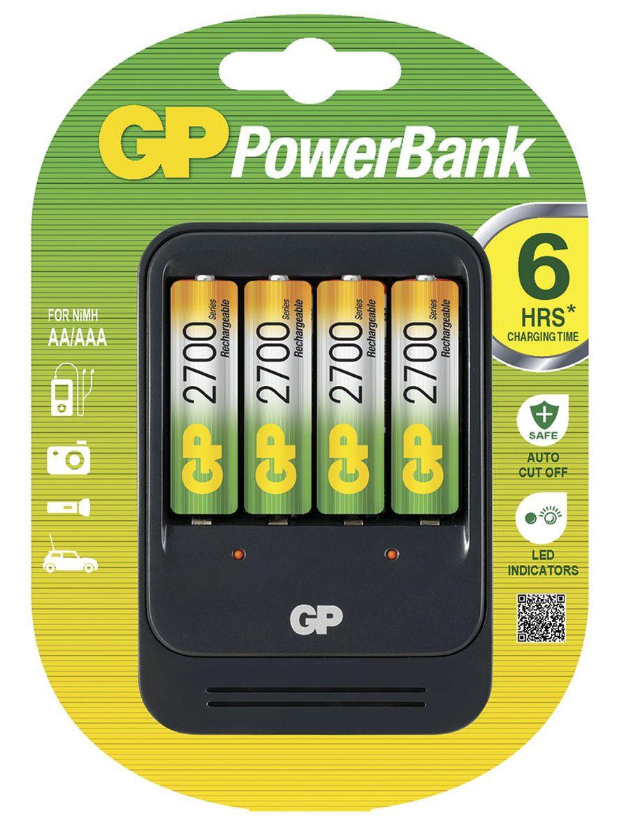 Зарядное устройство GP Batteries PB570 для заряда 4-х аккумуляторов типа АА, ААА + комплект из 4-х аккумуляторов NiMh, 2700 mAh, тип АА8204Зарядные устройства GP PowerBank серии MID-range предоставляют частым пользователям аккумуляторов идеальные решения для заряда. Если вам нужно зарядить от 2-х до 8-ми аккумуляторов в течение от 2-х до 8-ми часов, то зарядные устройства этой серии отлично подойдут. В комплекте с некоторыми зарядными устройствами идут универсальные переходники для использования по всему миру во время путешествий. * Безопасный заряд в течение ночи * Индивидуальный индикатор статуса заряда для каждого аккумулятора * Контроль исправности аккумуляторов и защита от заряда первичных элементов питания * Удобство для путешественников: используются по всему миру * Непрерывный подзаряд: аккумуляторы всегда полностью заряжены * Достаточно 6 часов для заряда 4-х никель-металлгидридных аккумуляторов типоразмеров АА или ААА * Два канала для заряда позволяют заряжать 2 или 4 никель-металлгидридных аккумулятора типоразмеров АА или ААА