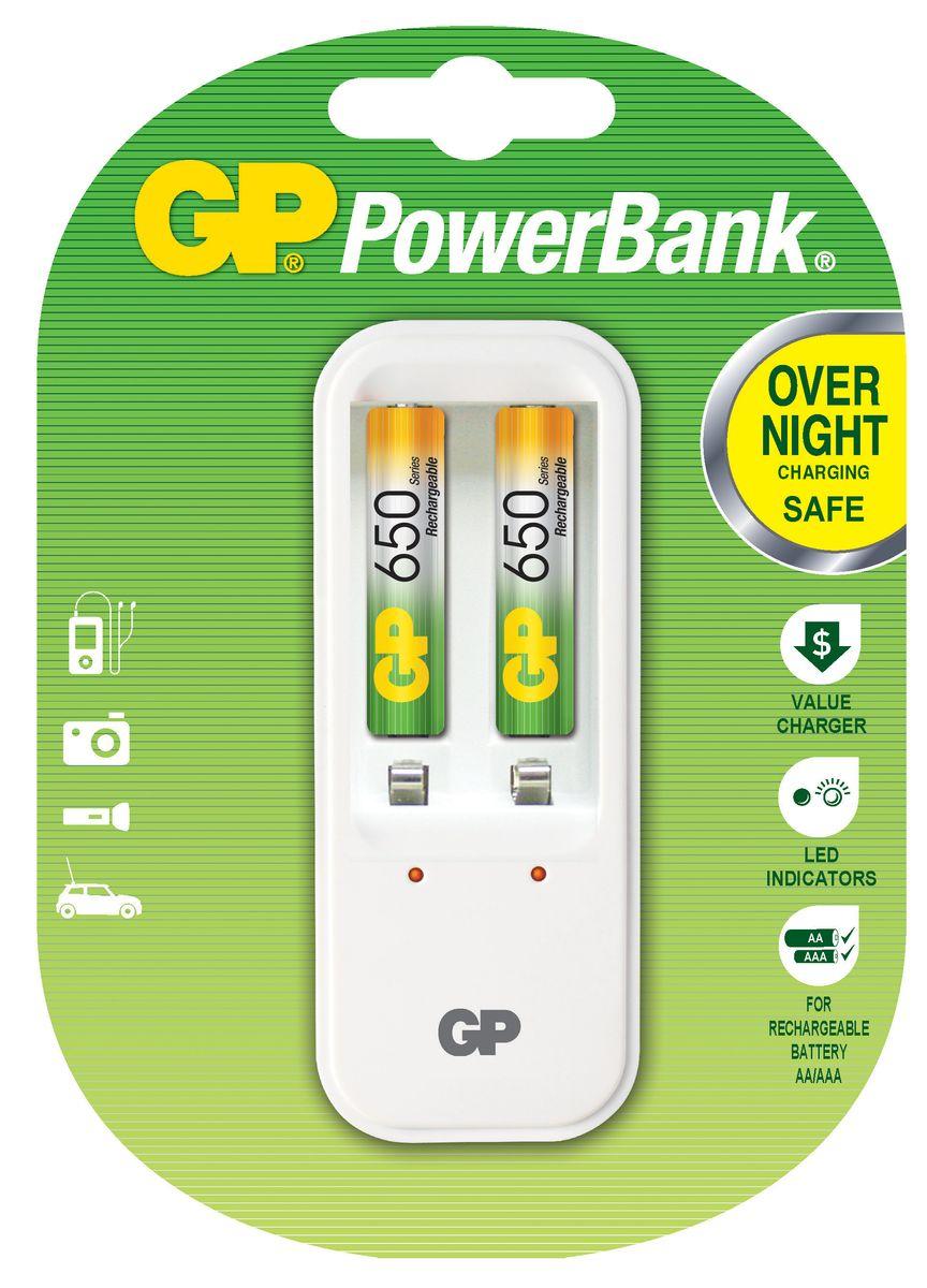 Зарядное устройство GP Batteries для заряда 2-х аккумуляторов типа АА, ААА + комплект из 2-х аккумуляторов NiMh, 650 mAh, тип ААА8511Экономия средств, безопасный заряд и удобство обращения. Серия STANDARD зарядных устройств GP PowerBank предлагает экономное решение для заряда аккумуляторов всех типоразмеров. Если вам нужно зарядить аккумуляторы типоразмеров ААА, АА, все зарядные устройства PowerBanks просты и удобны в использовании; просто поместите Ваши аккумуляторы в устройство и оставьте их заряжаться на всю ночь. Автоматический таймер гарантирует безопасный процесс заряда, после которого Вы можете вытащить заряженные аккумуляторы, когда они Вам понадобятся. * Устройство, разработанное для того, чтобы оно всегда находилось в розетке - для мгновенной энергии * Компактное устройство * Два канала для заряда позволяют заряжать 1-2 никель-металлгидридных аккумулятора типоразмеров АА или ААА