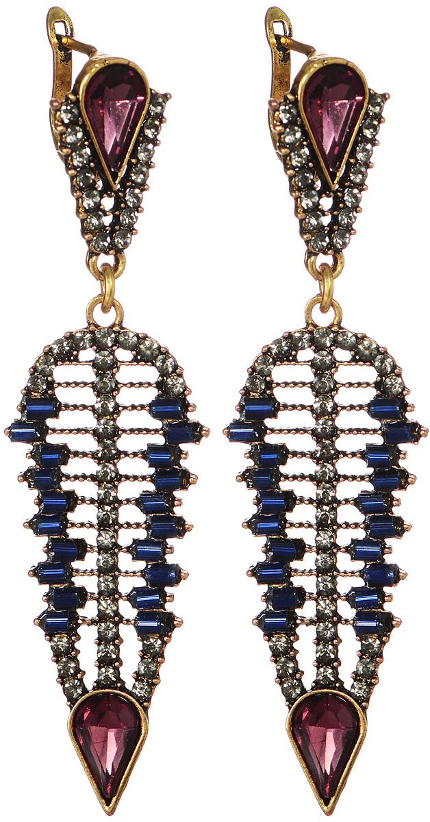 Серьги Fashion House, цвет: бронзовый, синий, красно-коричневый, серый. FH33021FH33021Шикарные серьги Fashion House выполнены из металла с эффектом под бронзу. Изделие, дополненное подвеской в форме листика, оформлено вставками в виде искусственных камней, стеклярусом и стразами. В качестве основания изделия используется английский замок, который надежно зафиксирует сережку. Изысканные серьги станут модным аксессуаром для вечернего наряда, они подчеркнут вашу индивидуальность и неповторимый стиль и помогут создать незабываемый уникальный образ.