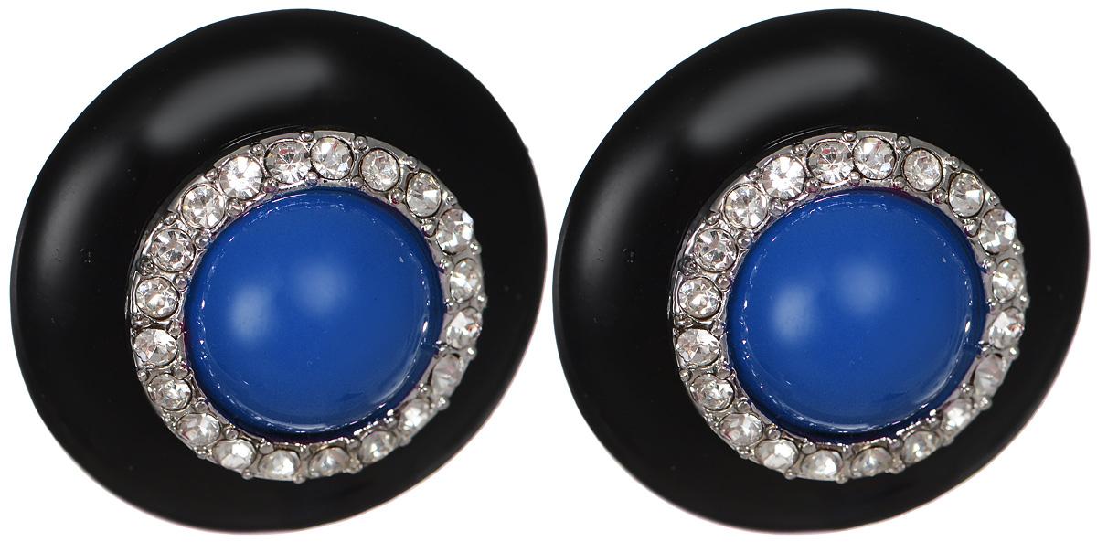 Серьги-пуссеты Fashion House, цвет: черный, белый, синий. FH24834FH24834Элегантные серьги-пуссеты Fashion House выполнены из пластика и металла. Изделие в центре украшено круглой пластиковой вставкой в обрамлении сверкающих страз. Удобная застежка-гвоздик с пластиковой заглушкой обеспечивает надежное удержание серьги. Изящные серьги станут модным аксессуаром как для повседневного, так и для вечернего наряда, подчеркнут вашу индивидуальность и неповторимый стиль и помогут создать незабываемый уникальный образ.