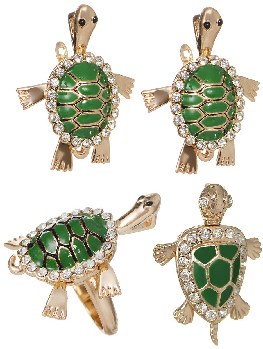 Комплект украшений Fashion House: кольцо, кулон, серьги, цвет: золотой, зеленый. FH33048 ( FH33048 )