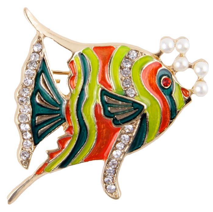 """Брошь """"Рыбка"""". Бижутерный сплав, австрийские кристаллы, имитация жемчуга, полихромные эмали. Корея, конец XX века."""