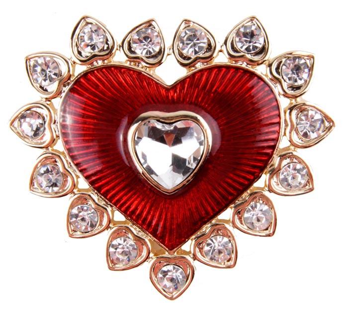 Брошь Сердце. Бижутерный сплав, эмаль, австрийские кристаллы. Конец XX века.ZAKN8-WHIБрошь Сердце. Бижутерный сплав, эмаль, австрийские кристаллы. Конец ХХ века. Размер броши 5 х 4,5 см. Сохранность хорошая. Предмет не был в использовании. Брошь выполнена в виде сердца из метала золотого тона. Изделие украшено целой россыпью австрийских кристаллов, декорировано эмалью ярко-красного цвета. Этот аксессуар гармонично дополнит Ваш наряд, станет завершающим штрихом в создании образа.