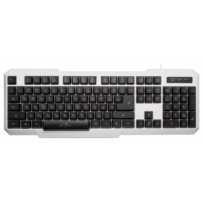 Oklick 740G, White клавиатура336021Oklick 740G - это 104-клавишная клавиатура с подсветкой в игровом дизайне, выполненная из прочного матового пластика черного или белого цвета. Клавиши полноразмерные со стандартным профилем, мягким ходом средней длины. Наличие мультимедийных клавиш позволяет настроить клавиатуру под себя для более удобной работы на ПК, а возможность блокировки кнопки Windows предотвращает ее случайное срабатывание в процессе игры. Отключаемая трехцветная подсветка (с регулировкой уровня интенсивности свечения и режимом пульсации со сменой цветов) позволяет с удобством проводить время за компьютером при отсутствии освещения. Ресурс: 10 000 000 нажатий Материал корпуса ABS-пластик Блокировка кнопки Windows Пульсирующий режим подсветки со сменой цветов