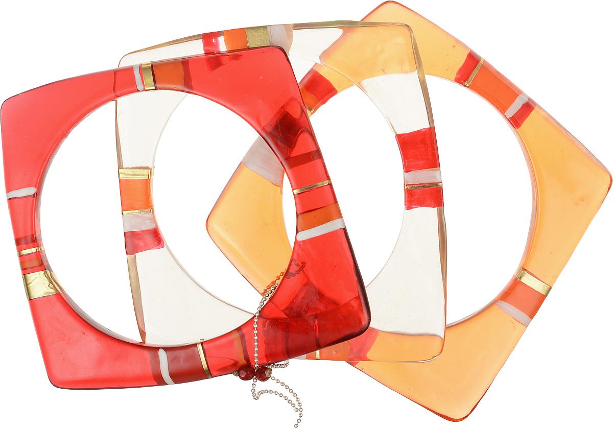 Браслет Lalo Treasures Round Trip, цвет: красный, оранжевый. B2446-4B2446-4Роскошный женский браслет Lalo Treasures Round Trip выполнен из высококачественного металлического сплава и ювелирной смолы. Модель выполнена в оригинальном стиле тройного браслета. Это стильное украшение элегантно завершит модный образ и подчеркнет ваш утонченный вкус.