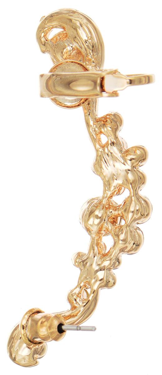 Серьга-кафф Art-Silver, цвет: золотистый, жемчужный. КФЗ 6-238