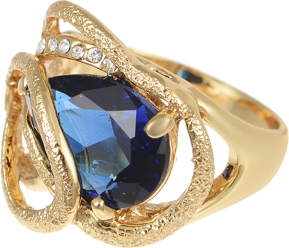 Кольцо Art-Silver, цвет: золотистый, синий. 016134-350. Размер 17,5016134-350Стильное кольцо Art-Silver изготовлено из бижутерного сплава с золотистым покрытием. Изделие дополнено мелкими цирконами, в центре - крупным цирконом. Декоративная часть кольца оформлена шероховатой поверхностью. Стильное кольцо придаст вашему образу изюминку и подчеркнет индивидуальность.