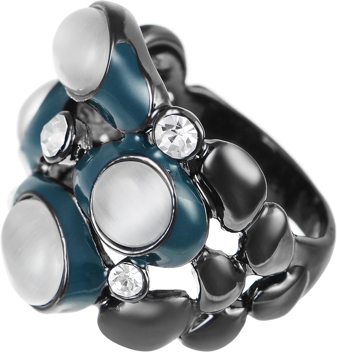 Кольцо Art-Silver, цвет: антрацитовый, серый, темно-бирюзовый. 066762-904-586. Размер 18,5066762-904-586Великолепное кольцо Art-Silver изготовлено из бижутерного сплава. Изделие дополнено цирконами, натуральными камнями кошачий глаз и вставками из эмали. Стильное кольцо придаст вашему образу изюминку и подчеркнет индивидуальность.