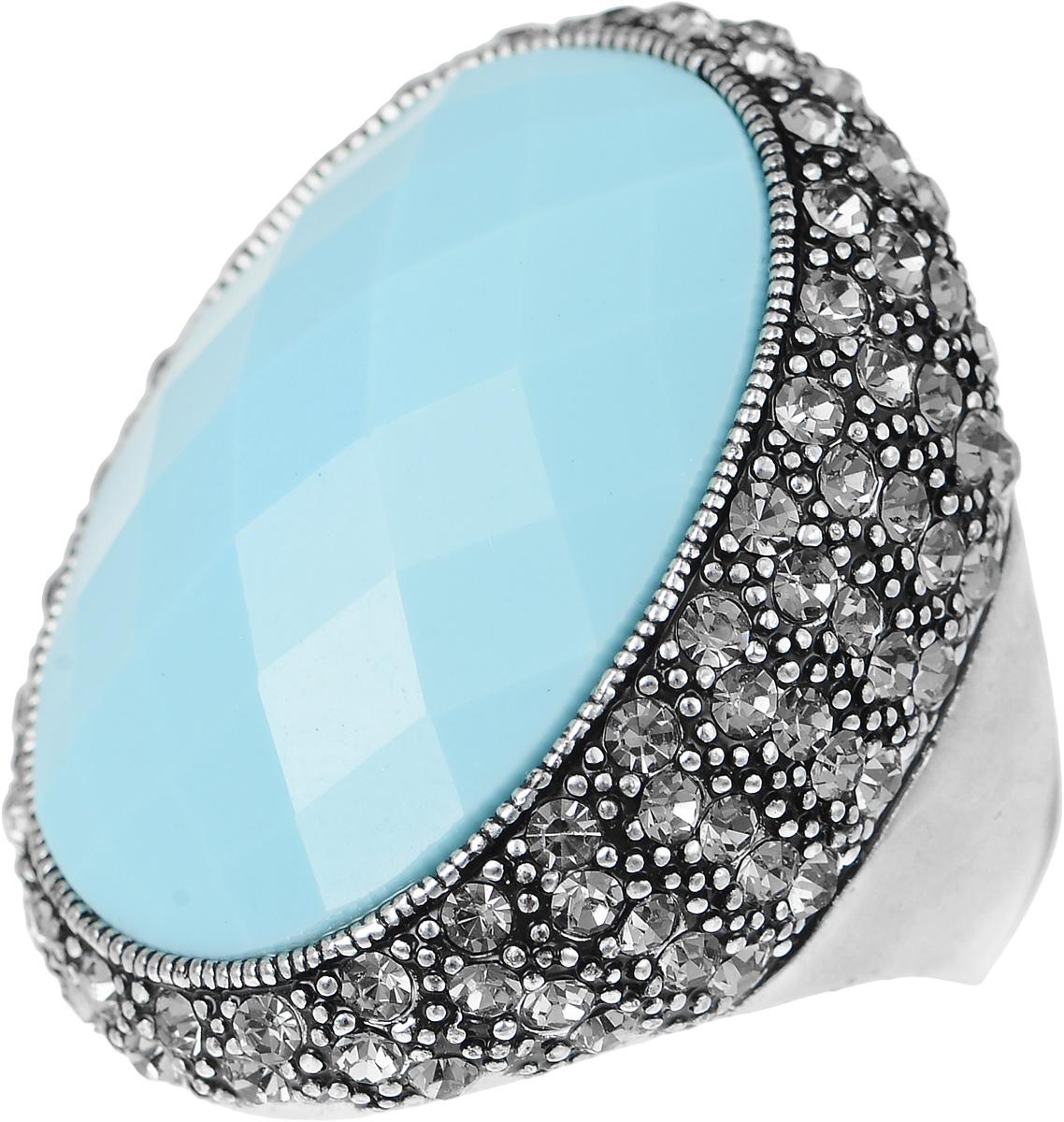 Кольцо Art-Silver, цвет: серебристый, голубой. V060871R-1418. Размер 18,5V060871R-1418Великолепное кольцо Art-Silver изготовлено из бижутерного сплава. Изделие оформлено цирконами. В центре кольца расположена ограненная вставка из пластика. Стильное кольцо придаст вашему образу изюминку и подчеркнет индивидуальность.